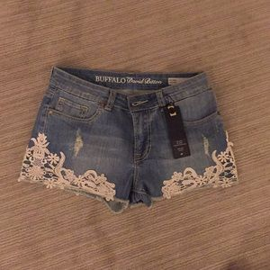 Denim with lace shorts